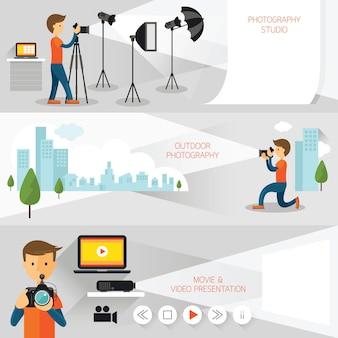Photographe, bannière de concept de photographie