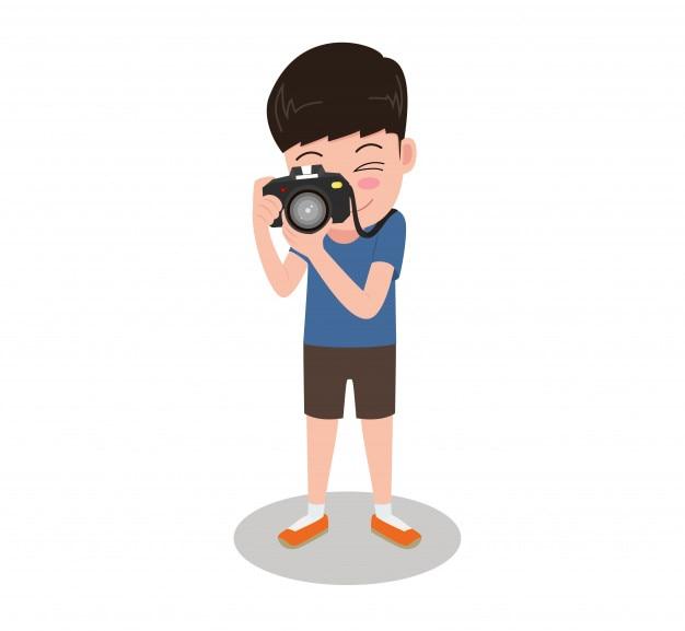 Photographe de dessin animé de caractère prenant des photos