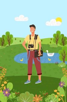 Photographe avec équipement se promener dans l'étang du parc