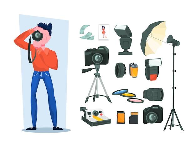 Photographe professionnel avec appareil photo. concept d'occupation artistique