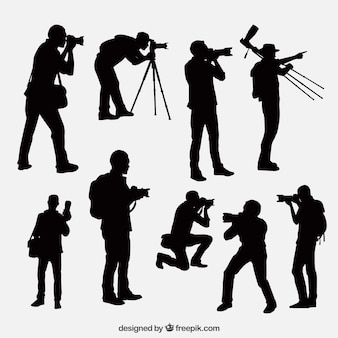 Photographe silhouettes dans différentes positions