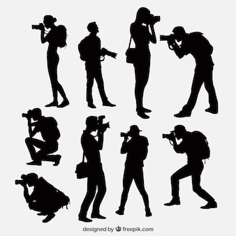 Photographes avec des silhouettes de la caméra