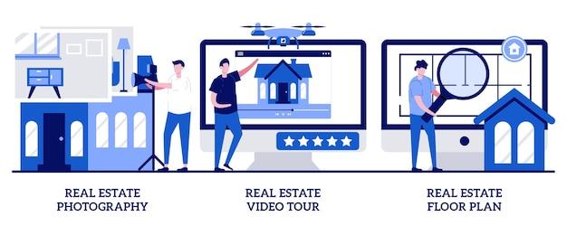 Photographie immobilière, visite vidéo, concept de plan d'étage avec des personnes minuscules. ensemble d'illustrations vectorielles de services d'annonces immobilières. publicité d'agence immobilière, portes ouvertes, métaphore de mise en scène virtuelle.