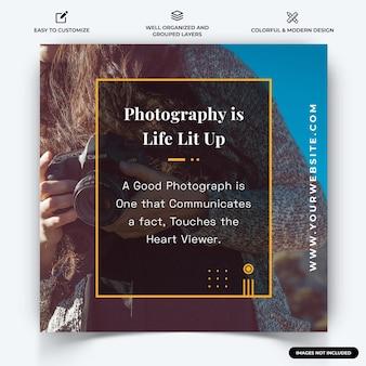 Photographie instagram post web banner template vecteur vecteur premium
