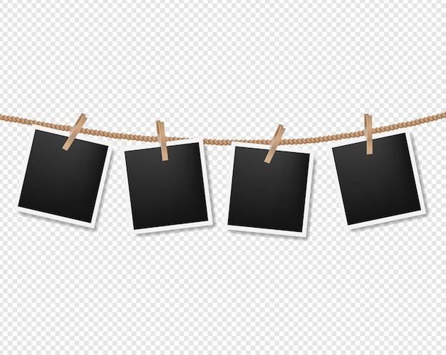 Photos sur la corde sur transparent