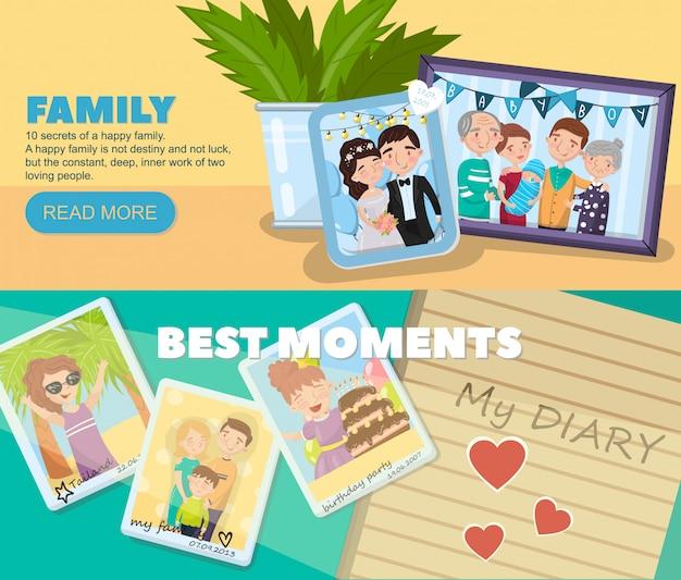 Photos de famille, meilleurs moments en images, portraits de membres de la famille concept d'illustration pour bannière web
