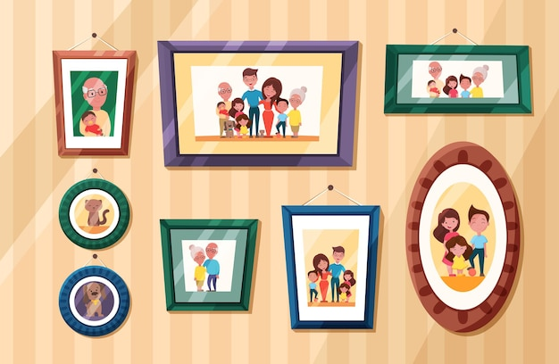 Photos de famille avec portrait de parents et d'enfants dans des cadres photos de mémoire avec les grands-parents