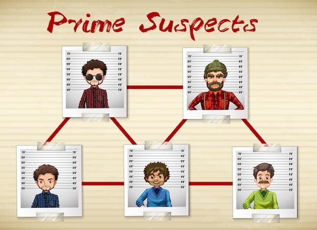 Des photos d'hommes étant le principal suspect