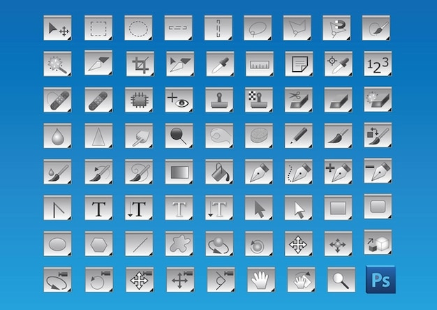Photoshop gratuit icônes des outils