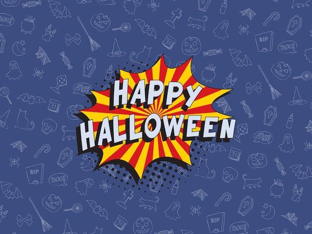Phrase 'happy halloween' dans une bulle de dialogue comique rétro sur fond coloré avec diverses icônes.