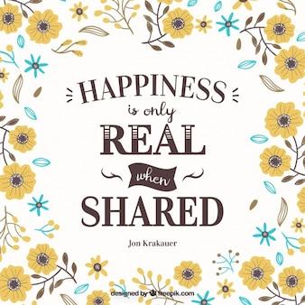 Phrase inspirée du bonheur avec la conception florale