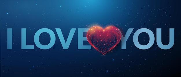 Phrase je t'aime en forme de coeur rouge