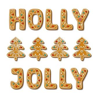 Phrase joyeuse de houx de pain d'épice de noël et biscuits faits maison d'arbre
