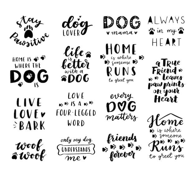 Phrase ou lettrage de chien. citations inspirantes sur les chiens. texte écrit à la main sur l'adoption d'un chien. parler des chiens.