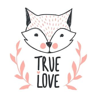 Phrase de lettrage dessiné à la main véritable amour et renard mignon. illustrations dessinées à la main pour poster, carte de voeux, t-shirt et impressions. conception de bande dessinée.