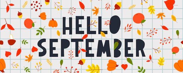 Phrase de lettrage typographie dessinés à la main bonjour, septembre isolé sur fond blanc avec une couronne dorée. inscription amusante de calligraphie à l'encre au pinceau pour la carte de voeux et d'invitation ou la conception d'impression