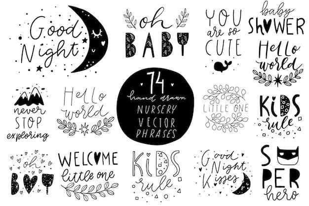 Des phrases élégantes pour enfants, des lettres dessinées à la main avec des détails mignons et un ensemble de textures