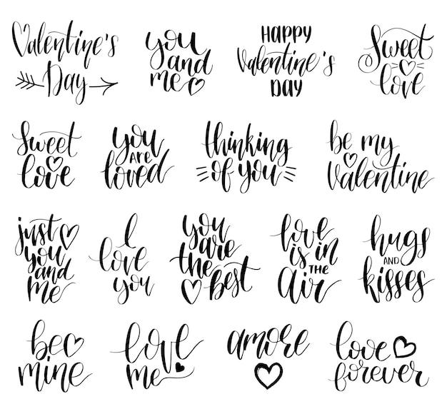 Phrases de lettrage à la main take my heart, hugs and kisses. ensemble de calligraphie. typographie de la saint-valentin.