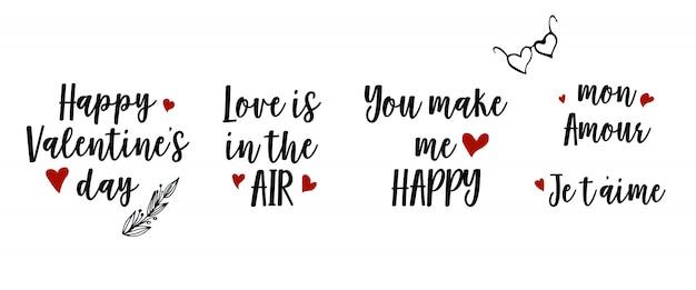 Phrases sur le thème de la saint-valentin. illustration vectorielle
