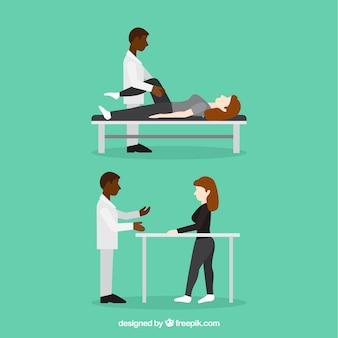 Physiothérapeute et patient