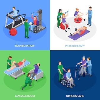 Physiothérapie réhabilitation 4 compostiion isométrique avec soins infirmiers traitement de massage massage équilibre des forces