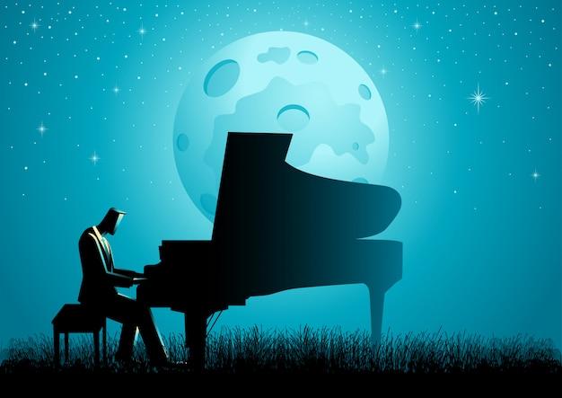 Le pianiste pendant la pleine lune