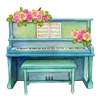 Piano droit aquarelle turquoise avec roses