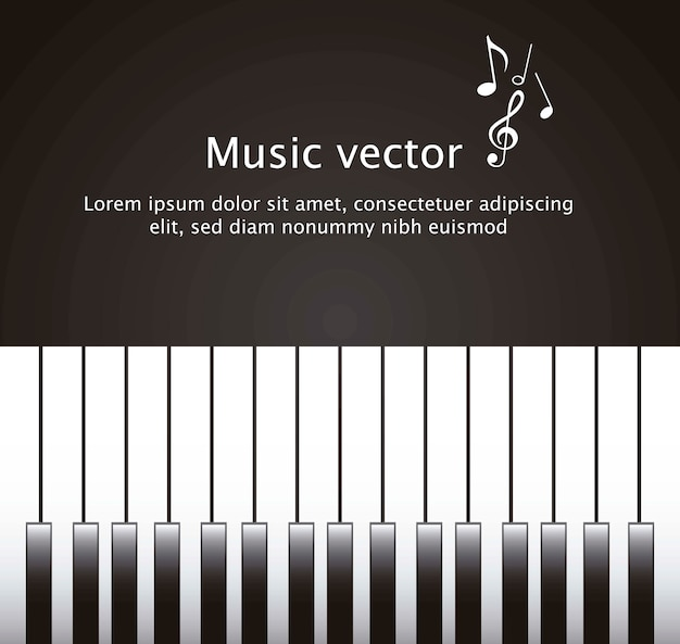 Piano avec espace pour copier sur le vecteur de fond noir