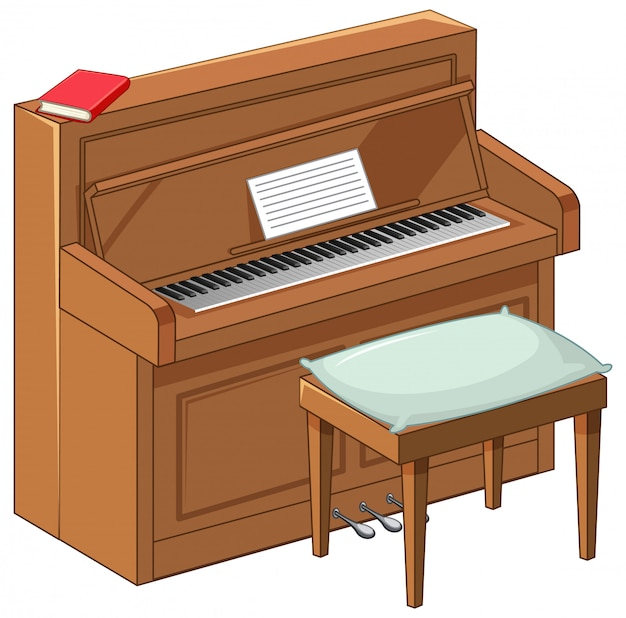 Piano marron vif en style cartoon sur fond blanc