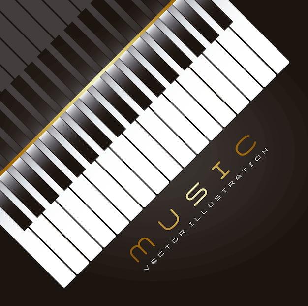 Piano avec ombre sur illustration vectorielle fond noir