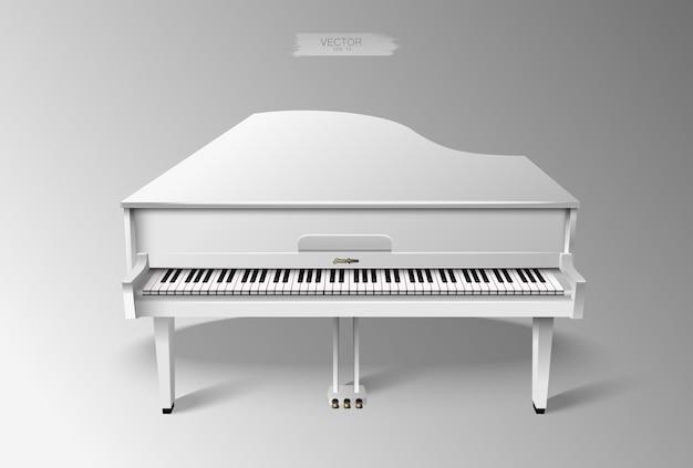 Piano à queue blanc réaliste.