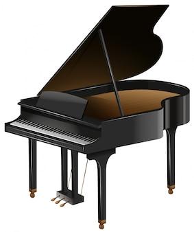 Piano à queue avec le haut ouvert