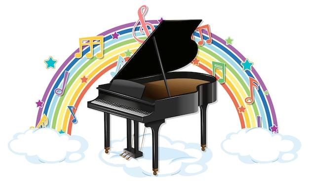 Piano avec symboles de mélodie sur arc-en-ciel