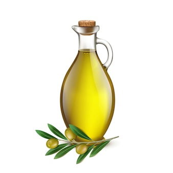 Pichet cruche réaliste d'huile d'olive et branche d'olives. illustration