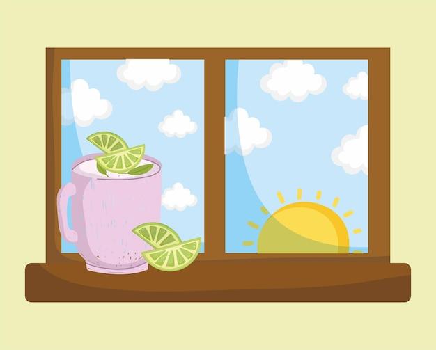 Pichet de limonade sur la fenêtre