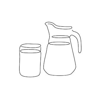 Pichet avec un verre de lait dessin au trait continu un dessin au trait de cruche en verre de produits laitiers