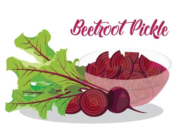 Pickle de betterave rouge sur fond blanc