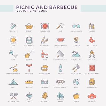 Picnic et barbecue icônes de contour de couleur.