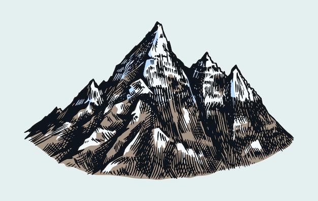 Pics de montagne, rock vintage, ancienne chaîne de montagnes. croquis extérieur de vecteur dessiné main dans un style gravé.