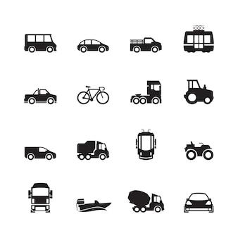 Pictogramme de transport. voiture, navire, métro, train, yacht, route, symboles, camion, vue côté, transport, silhouette, icône, collection