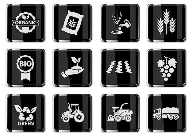 Pictogrammes agricoles vectoriels en boutons chromés noirs. icônes définies pour la conception de l'interface utilisateur