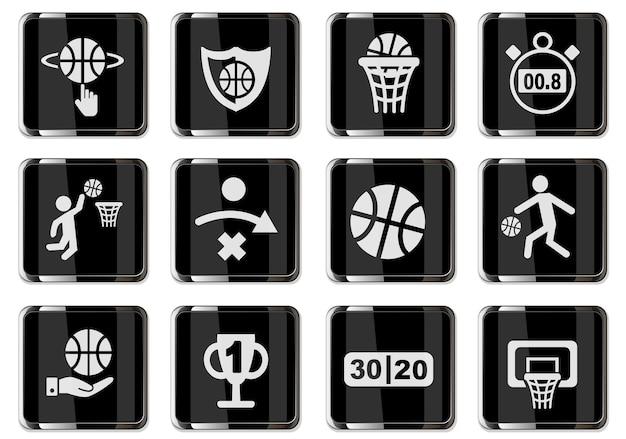 Pictogrammes de basket-ball en boutons chromés noirs. jeu d'icônes pour votre conception. icônes vectorielles