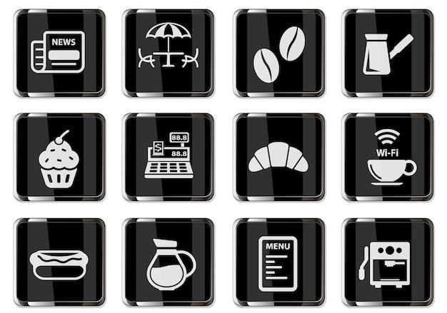 Pictogrammes de cafétéria en boutons chromés noirs. jeu d'icônes pour votre conception. icônes vectorielles