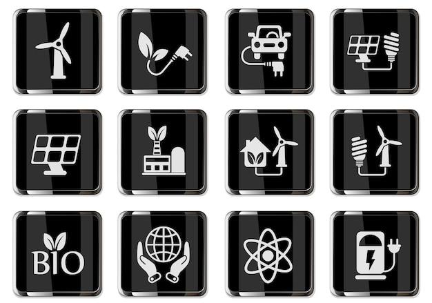 Pictogrammes énergétiques alternatifs en boutons chromés noirs. icônes définies pour la conception de l'interface utilisateur