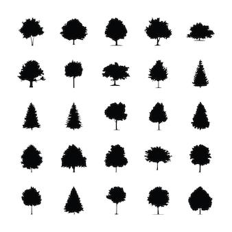 Pictogrammes de glyphe d'arbres
