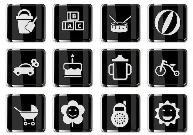 Pictogrammes de jouets pour bébés en boutons chromés noirs. jeu d'icônes pour votre conception. icônes vectorielles