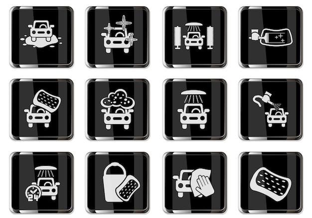 Pictogrammes de lave-auto en boutons chromés noirs. jeu d'icônes pour votre conception. icônes vectorielles