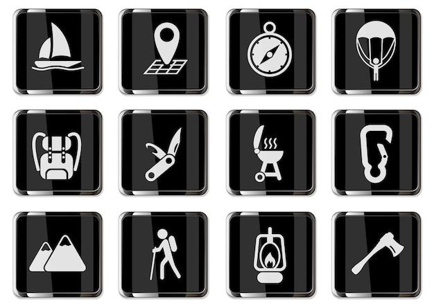 Pictogrammes de loisirs actifs et de camping en boutons chromés noirs. jeu d'icônes pour la conception de l'interface utilisateur