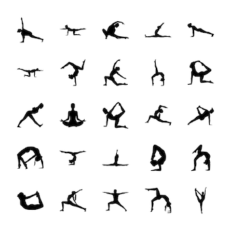 Pictogrammes solides de yoga