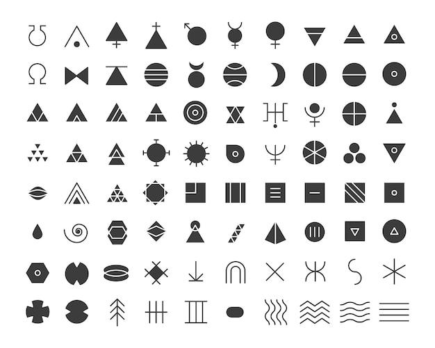 Pictogrammes et symboles de glyphes ésotériques signes mystiques et alchimiques